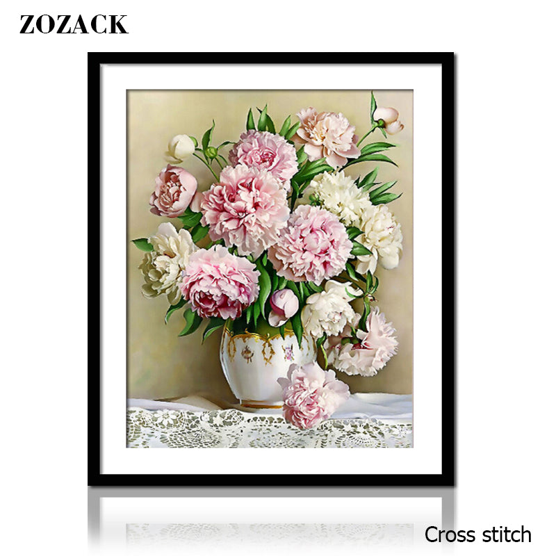 DIY DMC Peony Vase Cross stitch Sets For Embroidery kits chinese