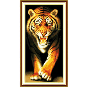 King of the tiger Cross Stitch Set DMC 14CT 11CT Cross-stitch Kits