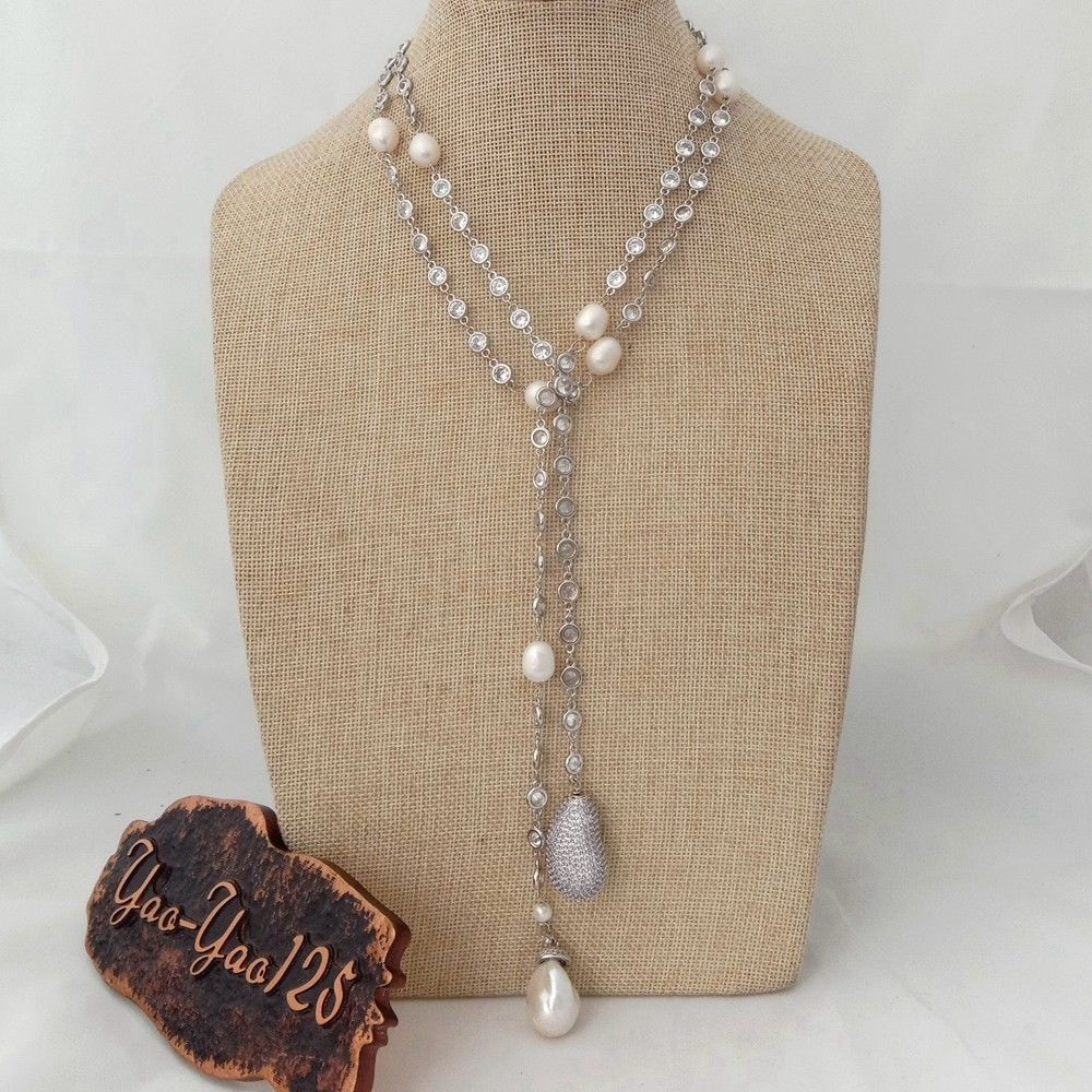 "N012905 49"" White Keshi Pearl Cz Pave Chain Long Necklace"