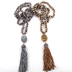 Bohemian Tribal Jewelry Glass Crystal long Knotted Tassel Necklace