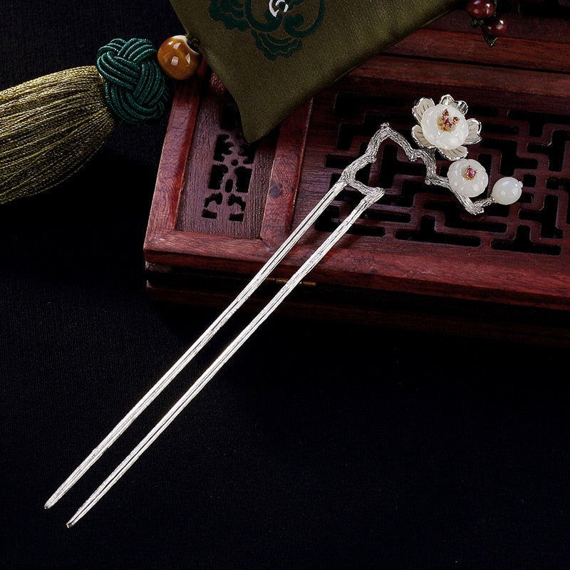 Vintage Plum Blossom Flower Hair Stick 925 Sterling Silver Hairpin Personalized Bobby Pin