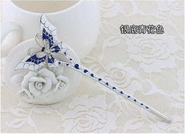 5 Color unique double layer wing butterfly hair stick for hair jewelry H1129