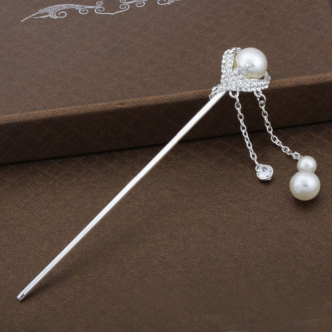 2pcs/lot Sparkling Pearl and Rhinestone Silver Hair Stick