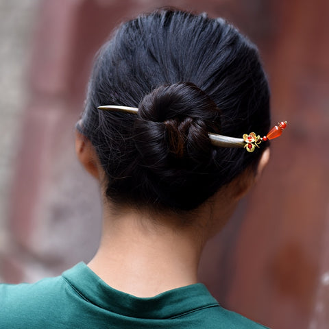 ethnic hairpin for women sanders wood sticks charm copper flower red carnelian drop vintage jewelry