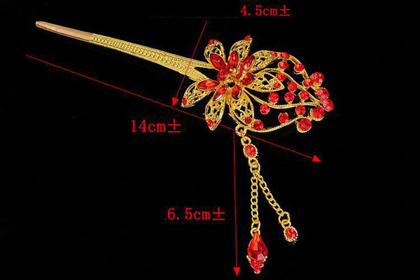 Bride Hair Stick Bridal Hairwear Chinese Style Tassel Red Wedding Hair Accessories