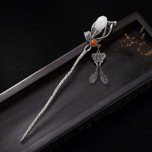 925 Sterling Silver Vintage Magnolia Flower Butterfly Pin Chinese Style Hair Stick
