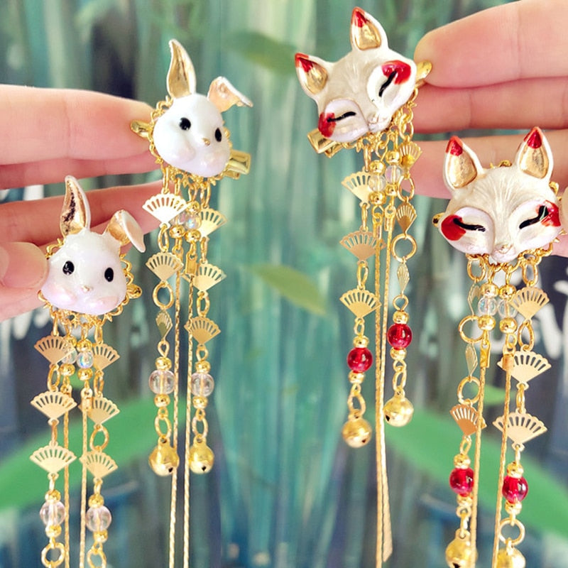1 pair Japan and Kor accessories fox rabbit Tassels hairpin