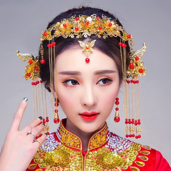 Chinese Style Traditional Bridal Headdress Wedding Hair Accessories Gold Color Phoenix Crown