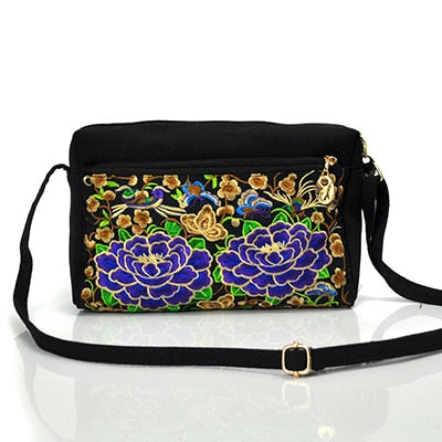 Chinese Style Crossbody Bag Ethnic Embroidered Shoulder Bags Lady Canvas Mobile Phone Small