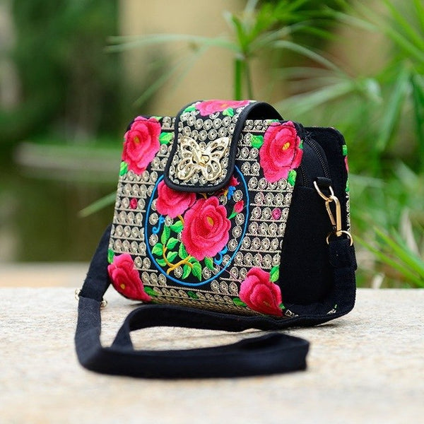 chinese style embroidery peony butterfly lock shoulder bag embroidery rose azalea double zipper