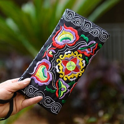 Chinese Handmade Embroidery Floral Canvas Wallet Embroider Purse Clutch Mobile Phone Bag