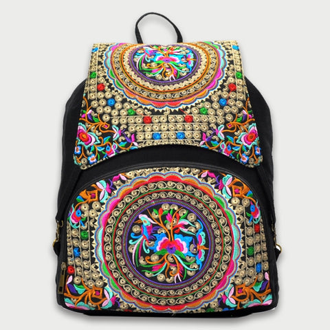 Floral Embroidery Drawstring Backpack