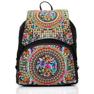 Floral Embroidery Drawstring Backpack National Ethnic Canvas Travel Rucksack Canvas Large Woman