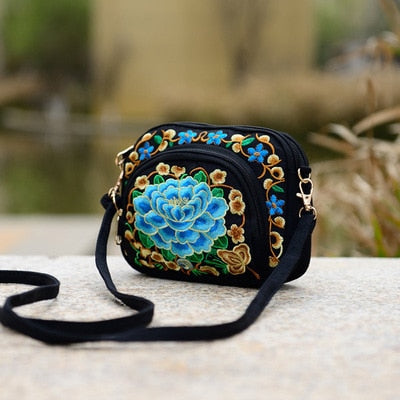 Embroidery Multi-layer Handbags National Floral Lady bags Versatile Cute bags