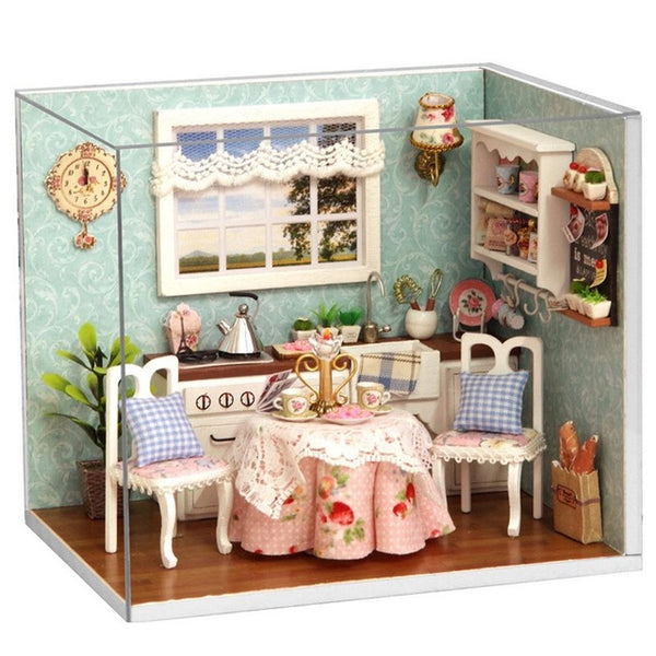 DIY Wooden Doll House Toy Dollhouse Assemble Kit With LED Furnitures Handcraft Miniature Kitchen