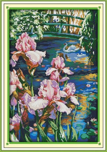 The Iris Flower Series Large living Room Decoration Grid Embroidery Needlework Cross Stitch