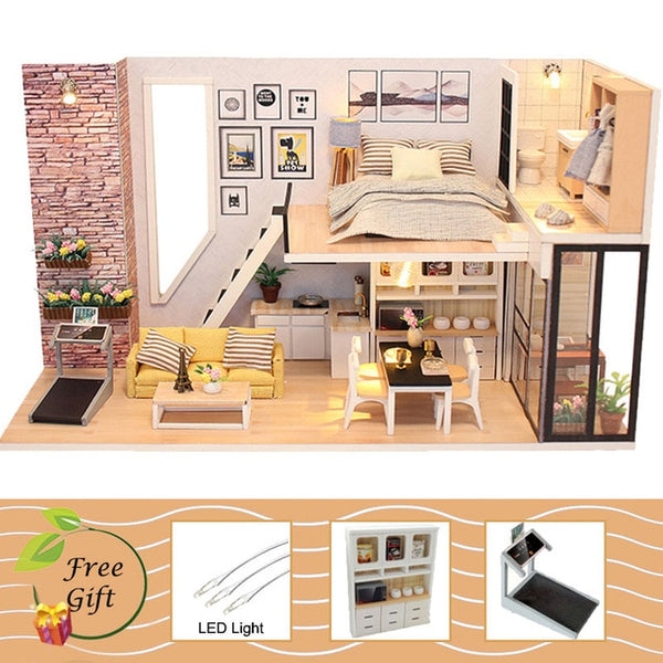 DIY Doll House Miniature Dollhouse With Furnitures Wooden House Miniaturas Gift M30