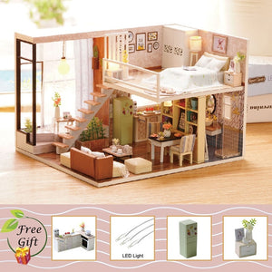 Doll House Miniature DIY With Furnitures Wooden House Waiting Time Toys Gift  L020