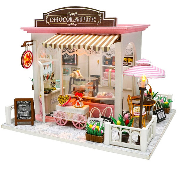 Doll House Miniature DIY Dollhouse With Furnitures Waiting Time Toys For Children Birthday Gift M027