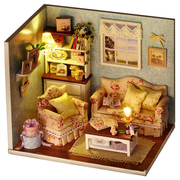 Doll House Miniature DIY With Furnitures Wooden House Toys  Gift H07