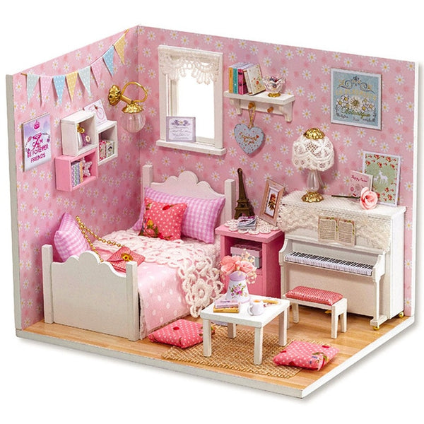 DIY Doll House Miniature with Furniture Dust Cover Wooden Miniaturas Toys H15