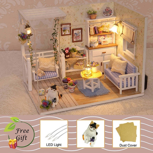 Doll House Furniture Miniature Miniature Room Box Theatre Toys for Children stickers DIY D