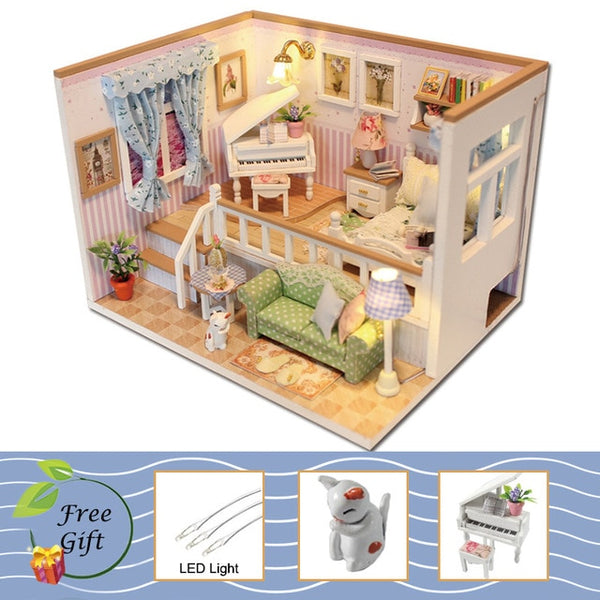 Furniture Miniature DIY Miniature House Room Box Theatre Toys for Children stickers DIY Dollhouse K