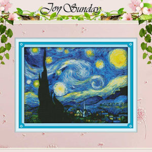 The Starry Night of Van Gogh Counted Cross Stitch 11CT 14CT Cross Stitch Sets Chinese Cross-stitch Kits Embroidery Needlework