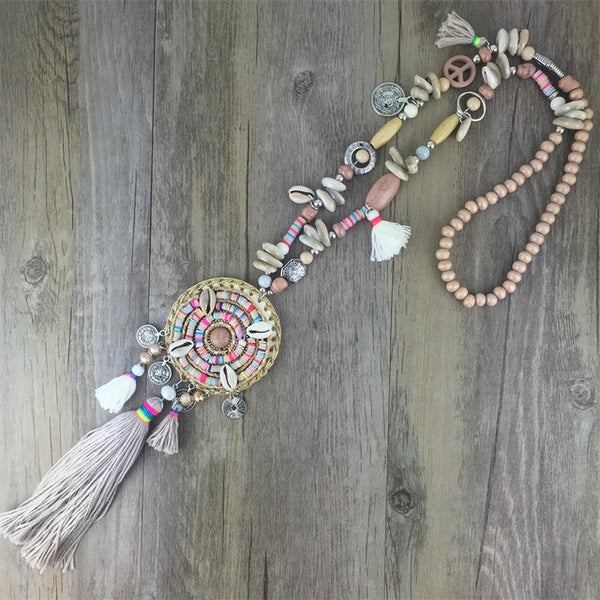 Handmade Women Long Necklace Boho Bohemian Necklace Accessories Colorful