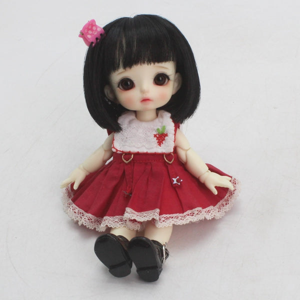 1/8 BJD / SD Doll Wigs Vampire / Chloe Super Soft Black Short Hair with Air Bangs  5-6 Inch