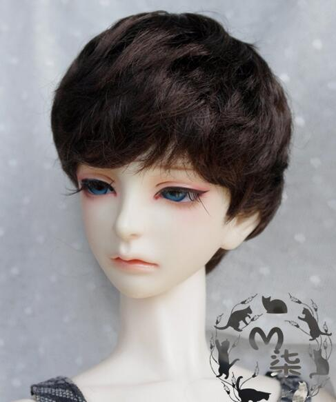 8-9 9-10 1/4 7-8 1/6 6-7 5-6 4-5 3-4inch Imitation mohair Brown Black Short hair BJD Doll Wig