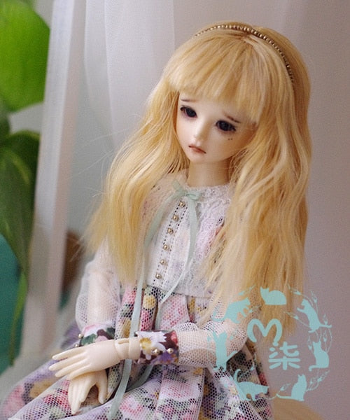 "5-6""14cm Sweet Golden Long Curly Wig For 1/8 BJD Doll Wig PukiFee lati"
