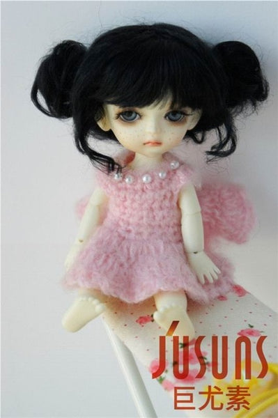 JD406 1/8 5-6 inch doll wig  BJD doll wig Lovely Mohair Wigs Baby two pony wig for tiny doll