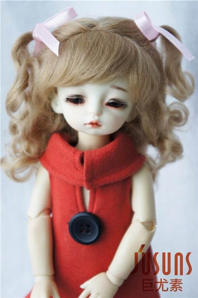 JD187 1/8 1/6 Long soft wave with 2 pony BJD  mohair size 5-6inch 6-7inch doll wigs  doll accessories