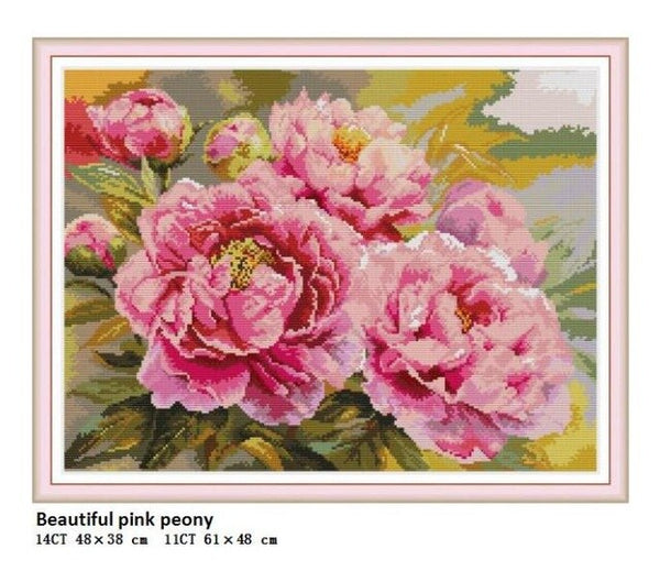 Beautiful Pink Peony Counted Printed on Fabric DMC 14CT 11CT Aida Cross Stitch kits DIY Embroidery