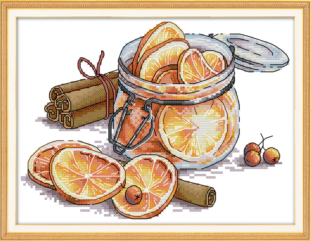 Lemon cross stitch kit aida 14ct 11ct