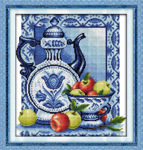 Everlasting love Christmas Blue and white porcelain  Chinese cross stitch kits Ecological cotton  stamped  store sales promotion