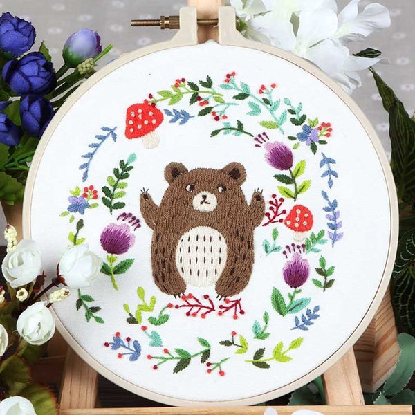 Needlework 3D Embroidery Kits DIY Cross Stitch Cartoon Bear Sewing Painting Cross Stitching Sets