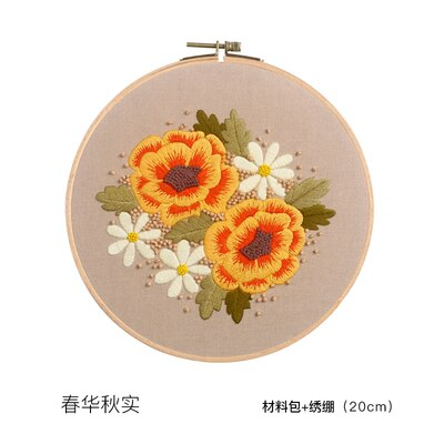 DIY Chinese Flower Embroidery Kit with Hoop Printed Flower Needlework Cross-Stitching