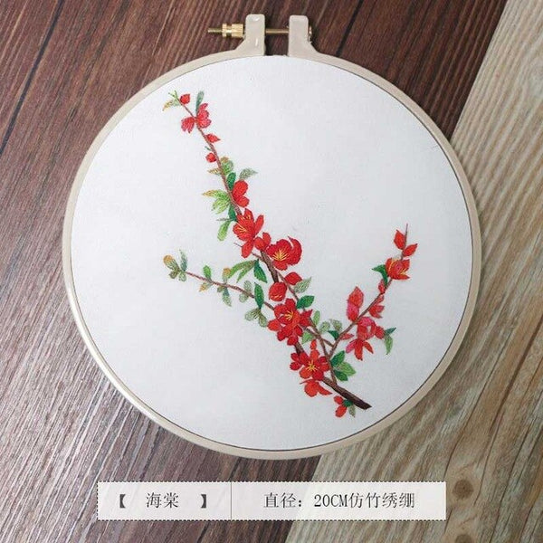 DIY Chinese Embroidery Kit Printed Flower Needlework Cross-Stitching Set with Hoop