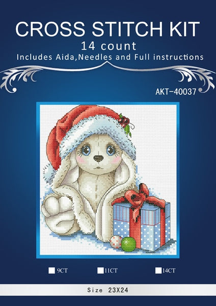 Animal of rabbit,Needlework,DIY,embroidery kits, 14ct 16ct 18ct. rabbit kits 2 1 cross-stitch kits,