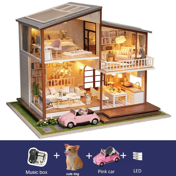 DIY DollHouse Furniture Kit Assemble with Dust Cover Doll Home Toys For Christmas Gift