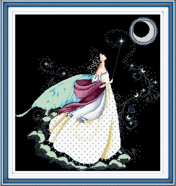 Beauty moon fairy cross stitch kits 14ct 11ct flaxen canvas cotton thread beads embroidery DIY craft