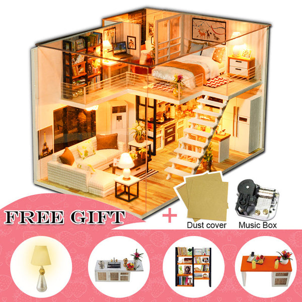 DIY Dollhouse Wooden Miniature Doll House Furniture Kit Casa Music Led M18
