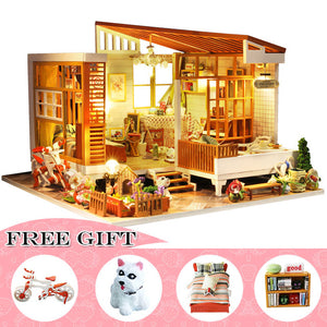 Casa Doll House Furniture Miniature DIY Miniature House Room Box Theatre  M20B