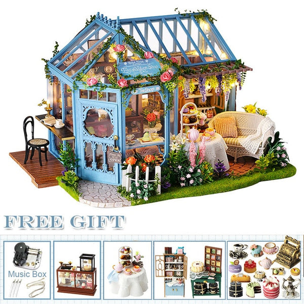 DIY Dollhouse Wooden doll Houses Miniature Furniture Kit Casa Music Led Toys  A68A
