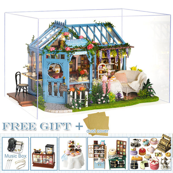 DIY Dollhouse Wooden Miniature Furniture Kit Casa Music Led Toys Gift A68B
