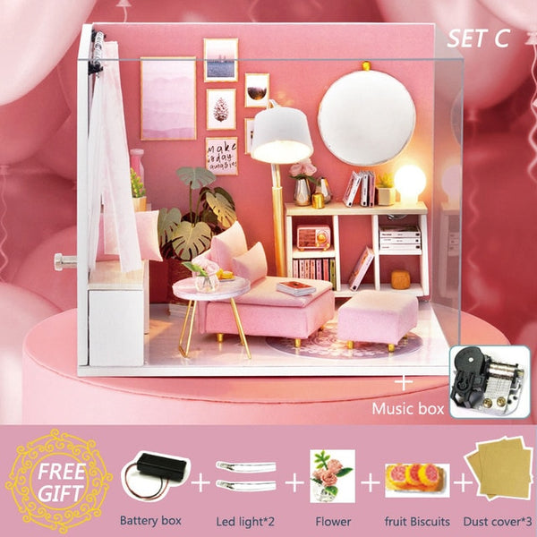 Doll House Furniture Miniature DIY Miniature House Room Casa Toys H17-4