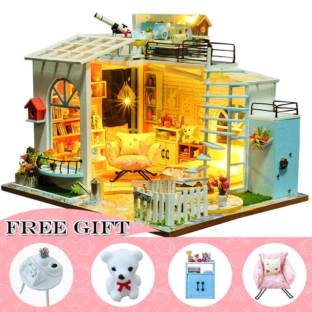 Casa Doll House Furniture Miniature DIY Miniature House Room Box Theatre Toys Casa S02A
