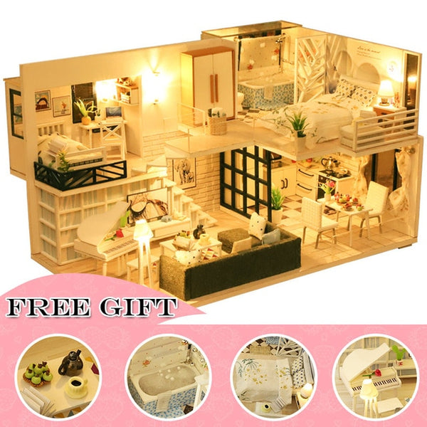 DIY Dollhouse Wooden doll Houses Miniature Furniture Kit Casa Music Led Toys M21B